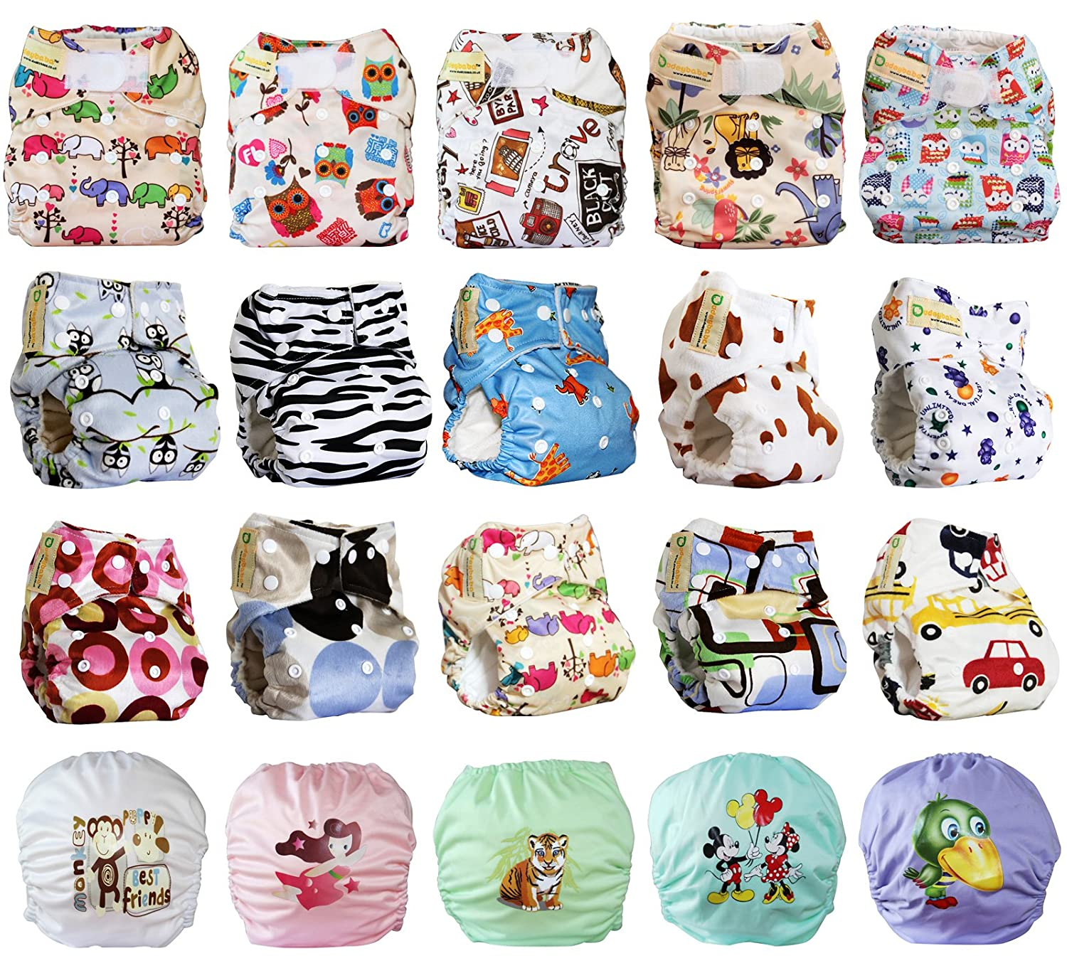 Dudeybaba Reusable Pocket Nappies - For Boy/Girl/Unisex - Suitable Random Choice (Boy)