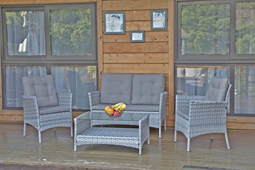 DIMAR GARDEN 4 Pieces Outdoor Patio Furniture Set Rattan Wicker Coffee Table and Chair