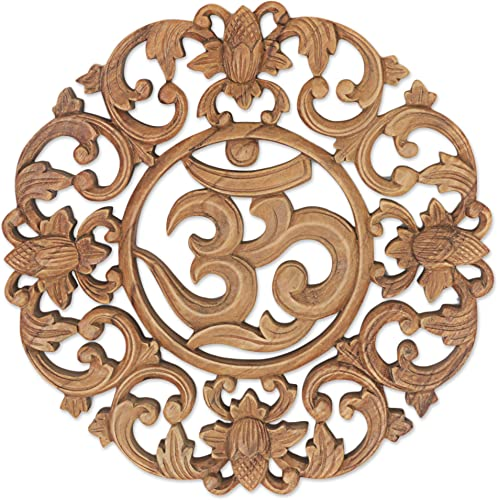 NOVICA 277584 Floral Hand Made Suar Wood Relief Panel Wall Art