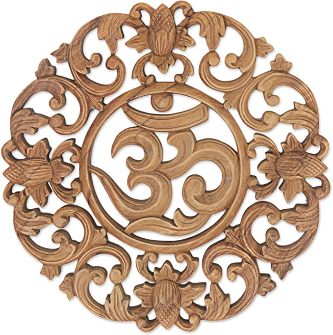 Amazon Com Novica 277584 Floral Hand Made Suar Wood Relief Panel Wall Art Brown Flower Om Home Kitchen