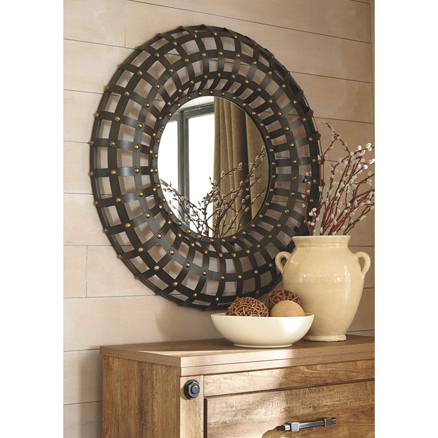 Signature Design by Ashley A8010017 Metal Mirror, Ogier Brown Gold