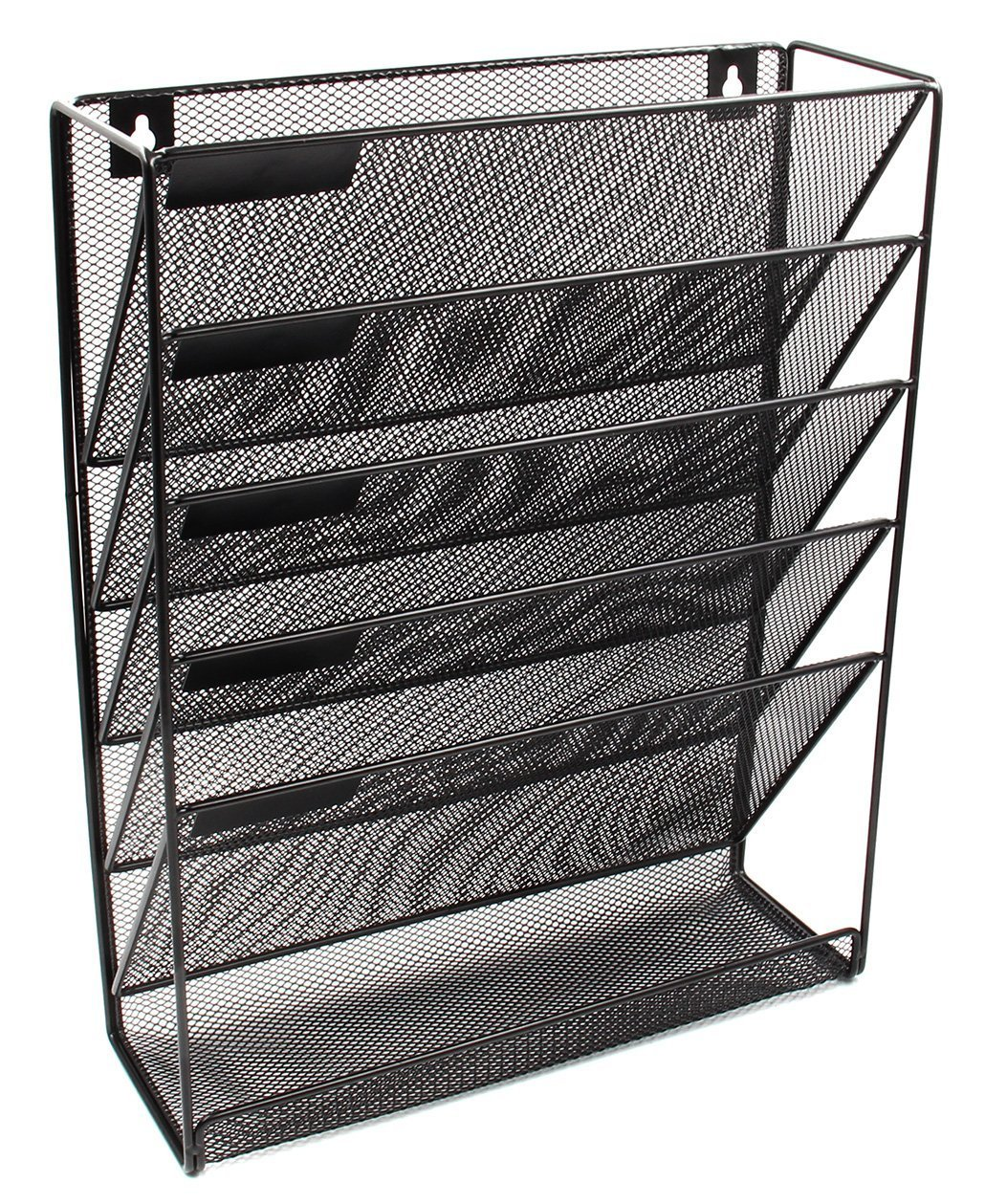 Mesh Wall Mounted 5-Tier File Organizer Black Hanging File Organizer Vertical Holder for Office Home