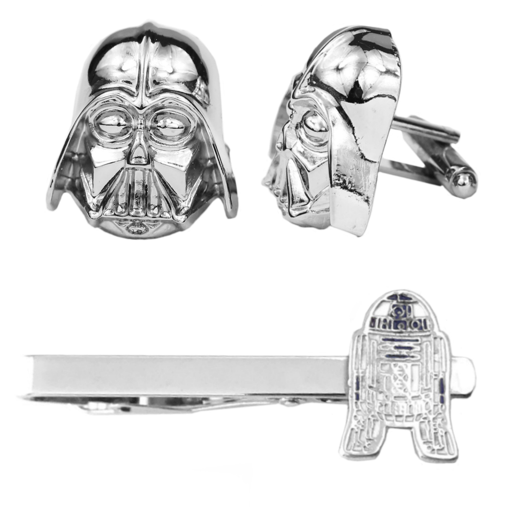 Outlander Darth Vader Silver Cufflink & R2-D2 Tiebar - New 2018 Star Wars Movies - Set of 2 Wedding Logo w/Gift Box