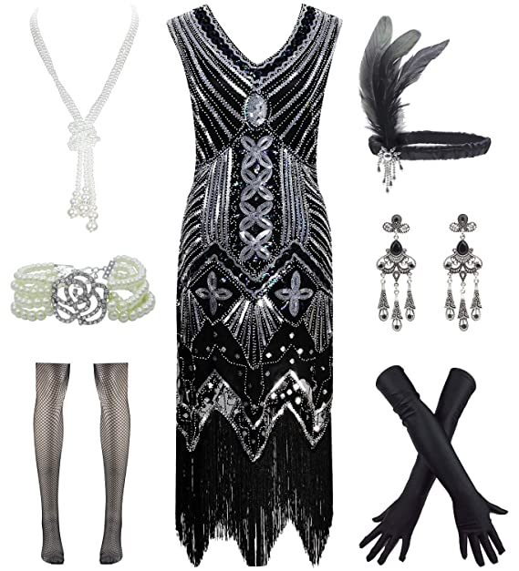 Amazoncom Vintage 1920s Sequin Fringed Gatsby Flapper