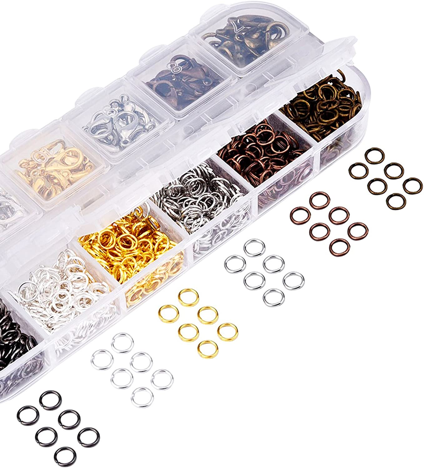 Mudder 6 Colors Lobster Claw Clasps and 6 Colors Open Jump Rings for Jewelry Making 12 mm, 5 mm