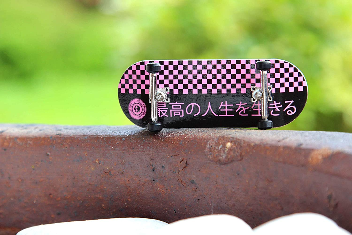 Skull Fingerboards Japan Pink Edition 34mm Pro Complete Professional Wooden Fingerboard Mini Skateboard 5 PLY with CNC Bearing Wheels