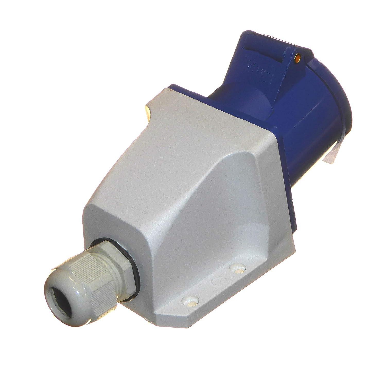Prise 3 broches et prise de surface 230 V IP44 32 A 2P+E 1 phase int/érieur//ext/érieur /étanche industrielle 32 A IEC Bleu