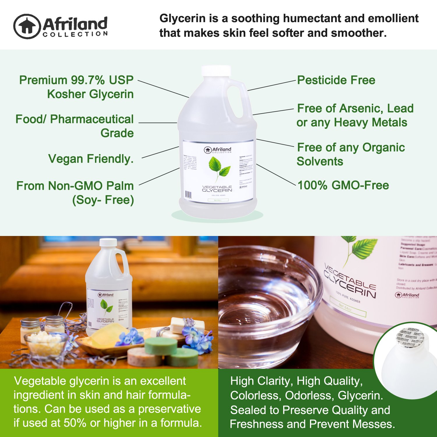 Vegetable Glycerin Kosher USP By Afriland Collection -Natural Food & Pharmaceutical Grade Liquid Glycerin , Refined Vegan Non-GMO Palm Oil Derived. For Skin Care/DIY Projects- 64oz (Half Gallon).