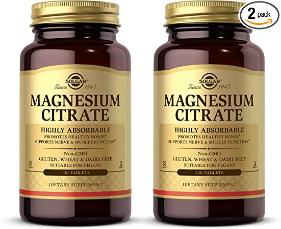 Solgar Magnesium Citrate, 120 Tablets - Pack of 2 - Promotes Healthy Bones, Supports Nerve & Muscle Function - Highly Absorbable - Non-GMO, Vegan, Gluten Free, Dairy Free, Kosher - 120 Total Servings