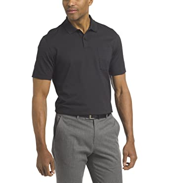 c5278de3 Van Heusen Men's Short Sleeve Jacquard Stripe Polo Shirt, Black, Small