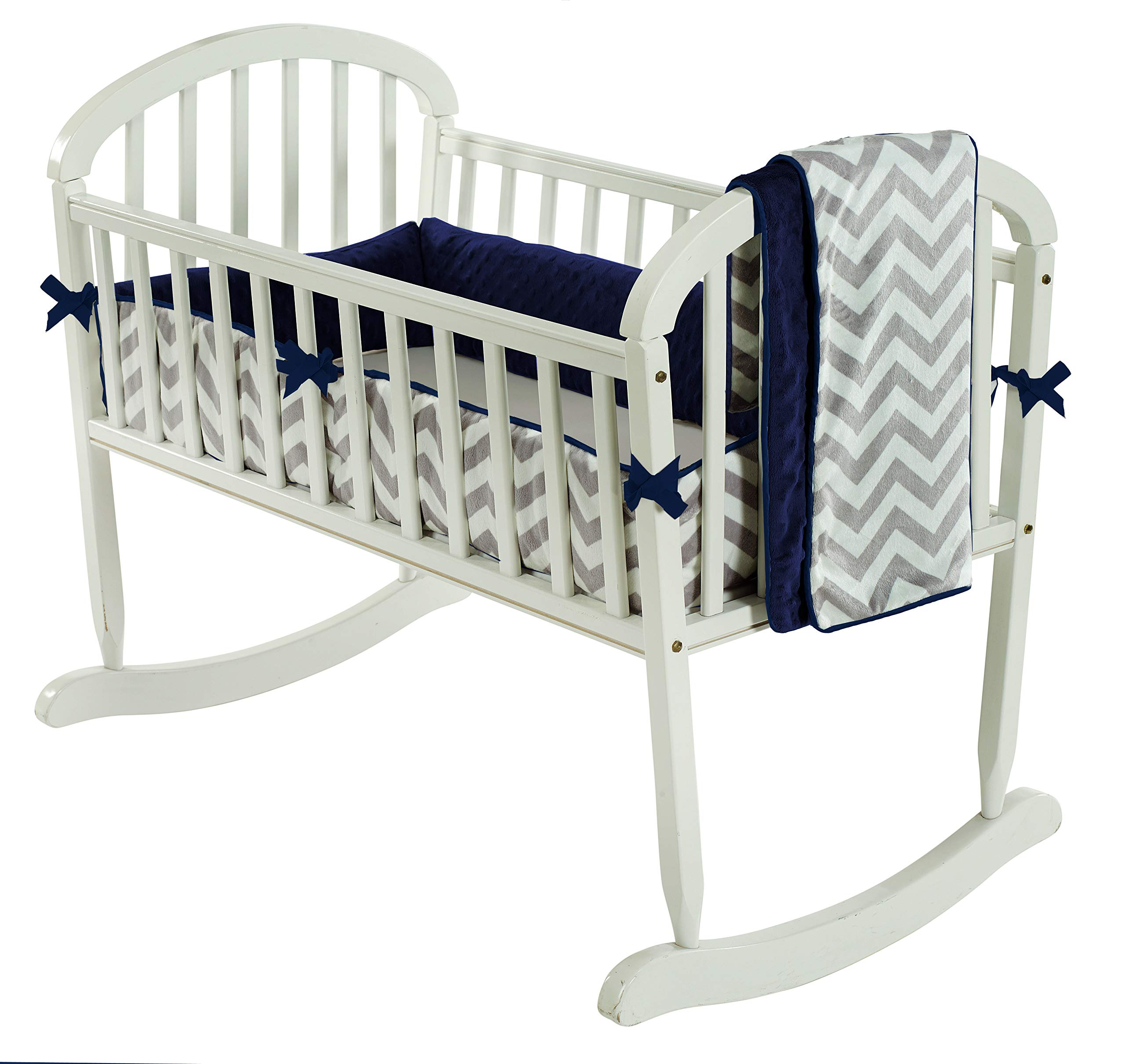 Baby Doll Bedding Minky Chevron Cradle Bedding Set, Navy by BabyDoll Bedding