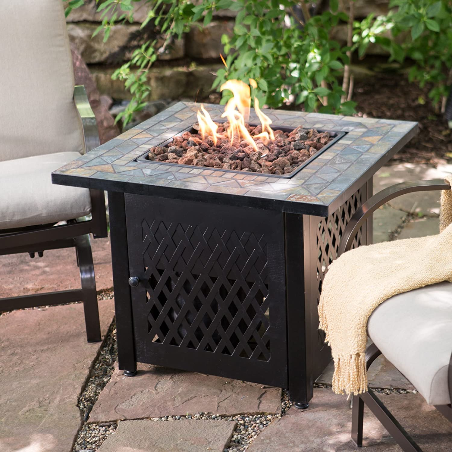 Amazon.com : UniFlame Slate Mosaic Propane Fire Pit Table With FREE Cover :  Patio, Lawn U0026 Garden