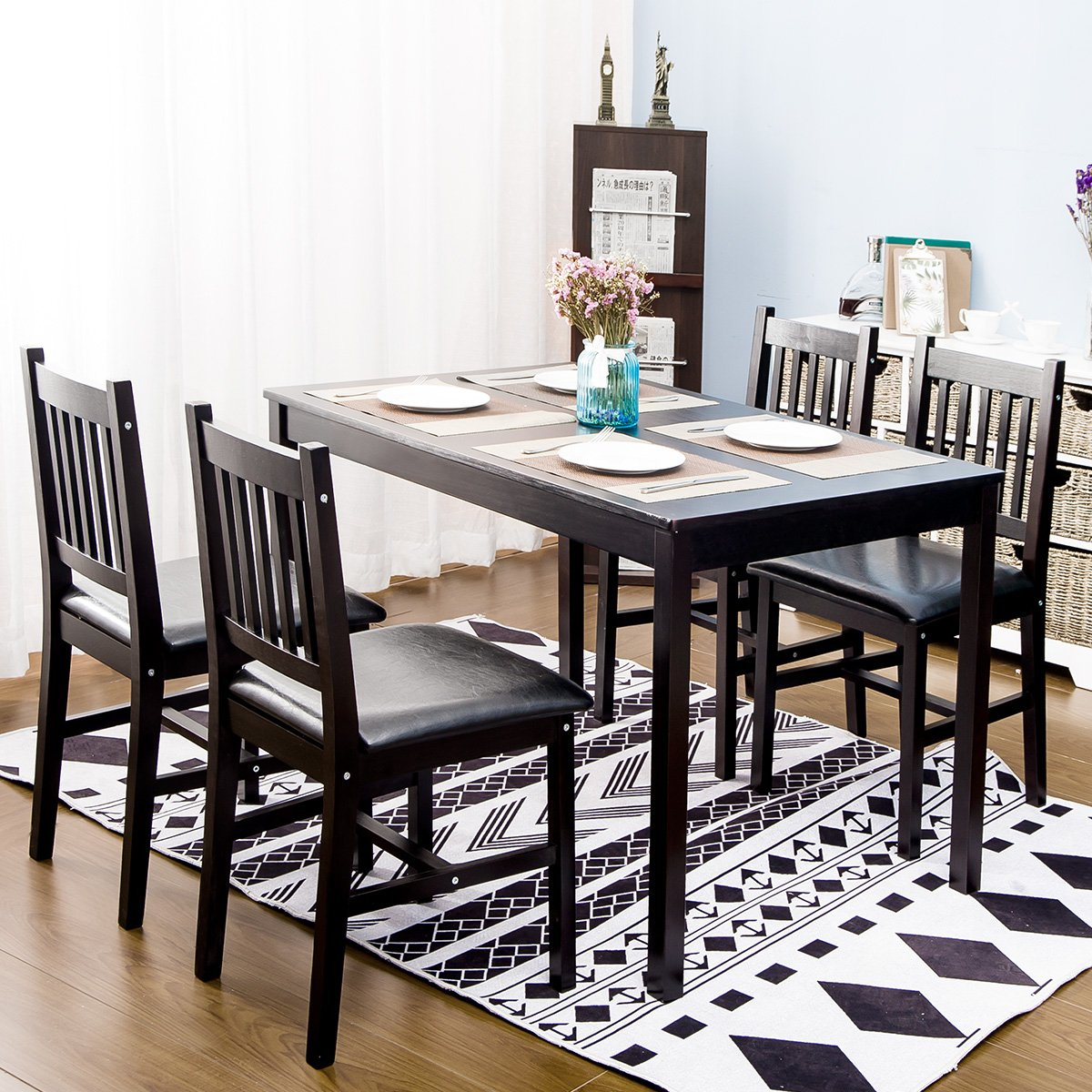Harper&Bright Designs 5 Piece Wood Dining Table Set 4 Person Home Kitchen Table and Chairs (Espresso.)