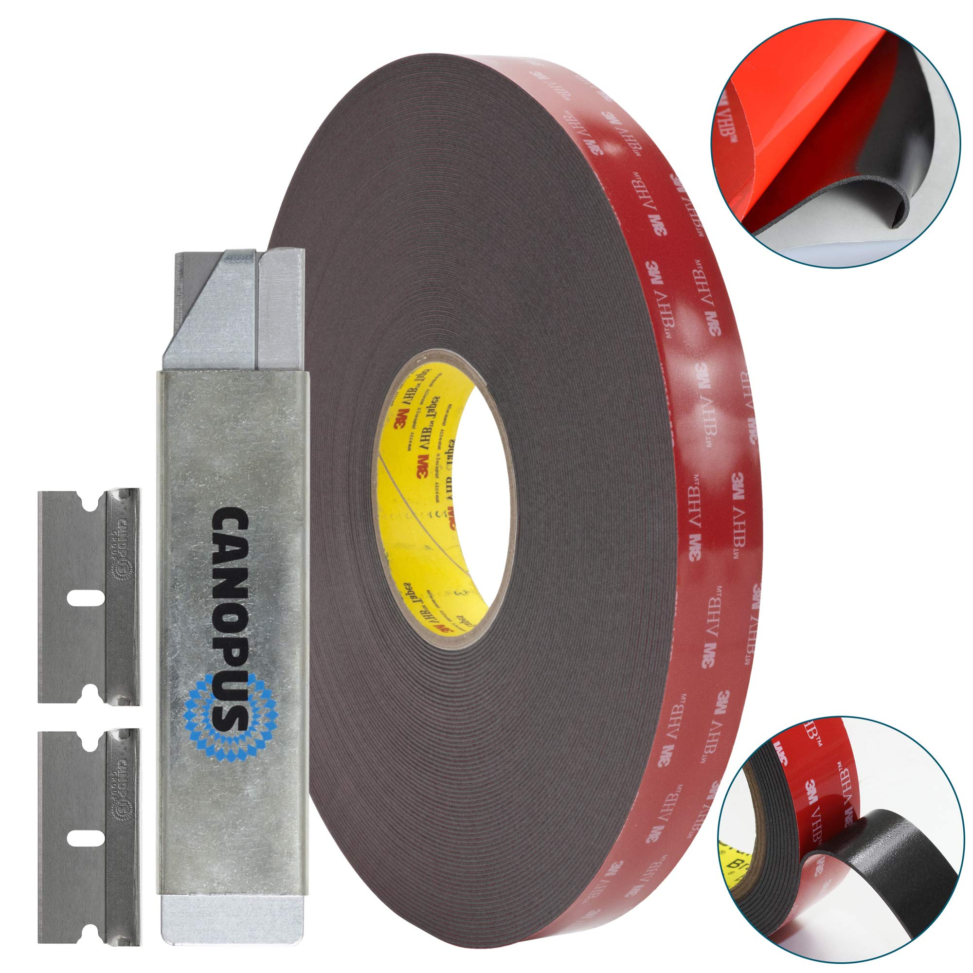 Adhesive Double Sided Tape, Heavy Duty Mounting Tape, Converted from 3M VHB 5952 roll, (0,75 in x 15 ft) with Box Cutter (1PC) and Razor Replacement (2PCs)