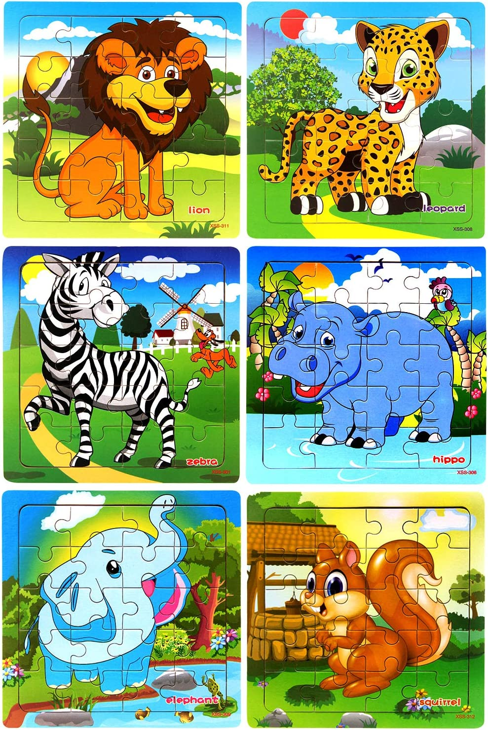 Puzzles for Kids Ages 3-5 Toddler Set 20 Piece Wooden Jigsaw Puzzles...
