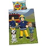 Herding 2470016063 Parure de Lit avec Imprimé Sam Le Pompier en Coton Multicolore 100 x 135 cm