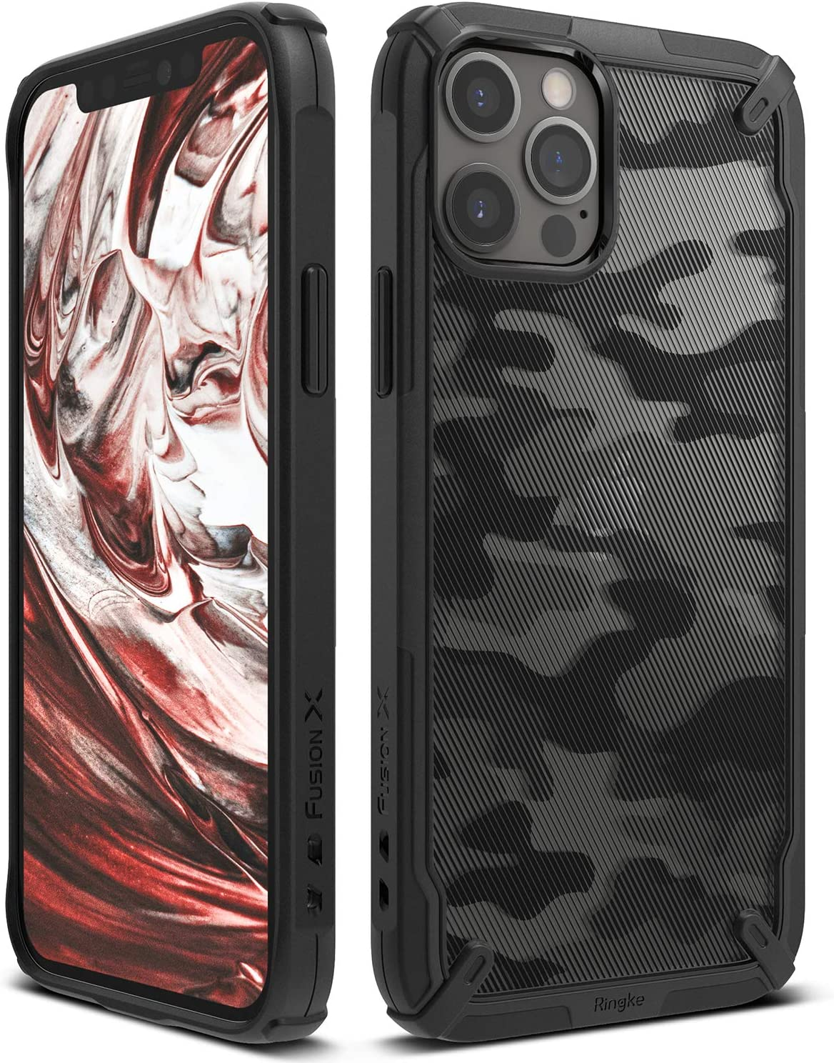 Ringke Fusion-X Case Compatible with iPhone 12, Compatible with iPhone 12 Pro, Camouflage Design Back Shockproof Heavy Duty Advanced TPU Bumper Phone Cover for 6.1-inch (2020) - Camo Black