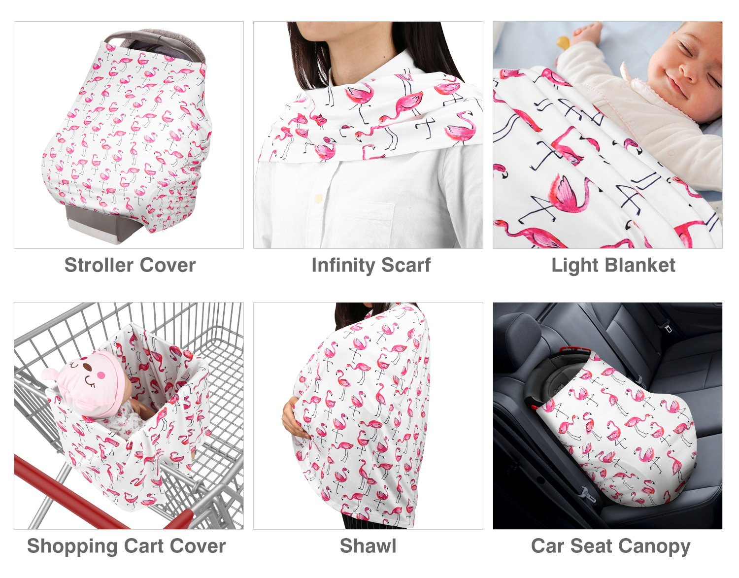 Zooawa Nursing Breastfeeding Cover Baby Car Seat Canopy Soft Cotton Mulit-Use Cover for Baby Breast Feeding Essentials Shopping Cart Cover Stroller Nursing Scarf