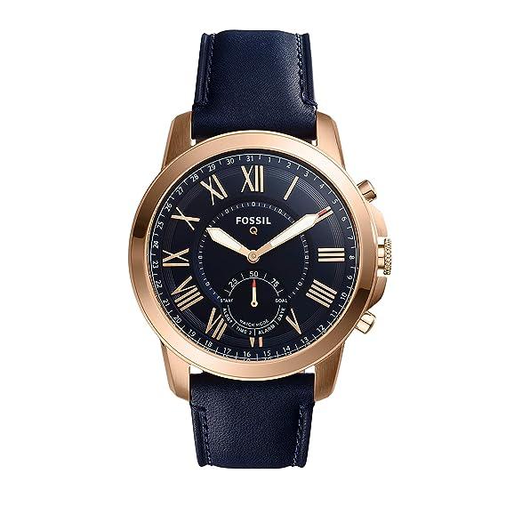 Reloj Inteligente híbrido Fossil Q Grant de Piel Azul Marino FTW1155