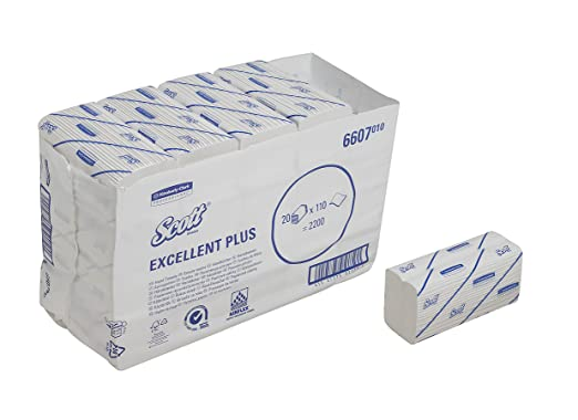 SCOTT* Excellent Plus Medium Toallas Secamanos Plegadas en C 6607 - 20 x 110 toallas de color blanco y 2 capas: Amazon.es: Industria, empresas y ciencia