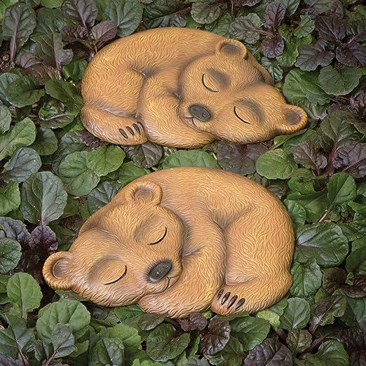 Bits and Pieces Juego de 2 Piedras Decorativas para jardín, diseño de Oso de Dormir: Amazon.es: Jardín
