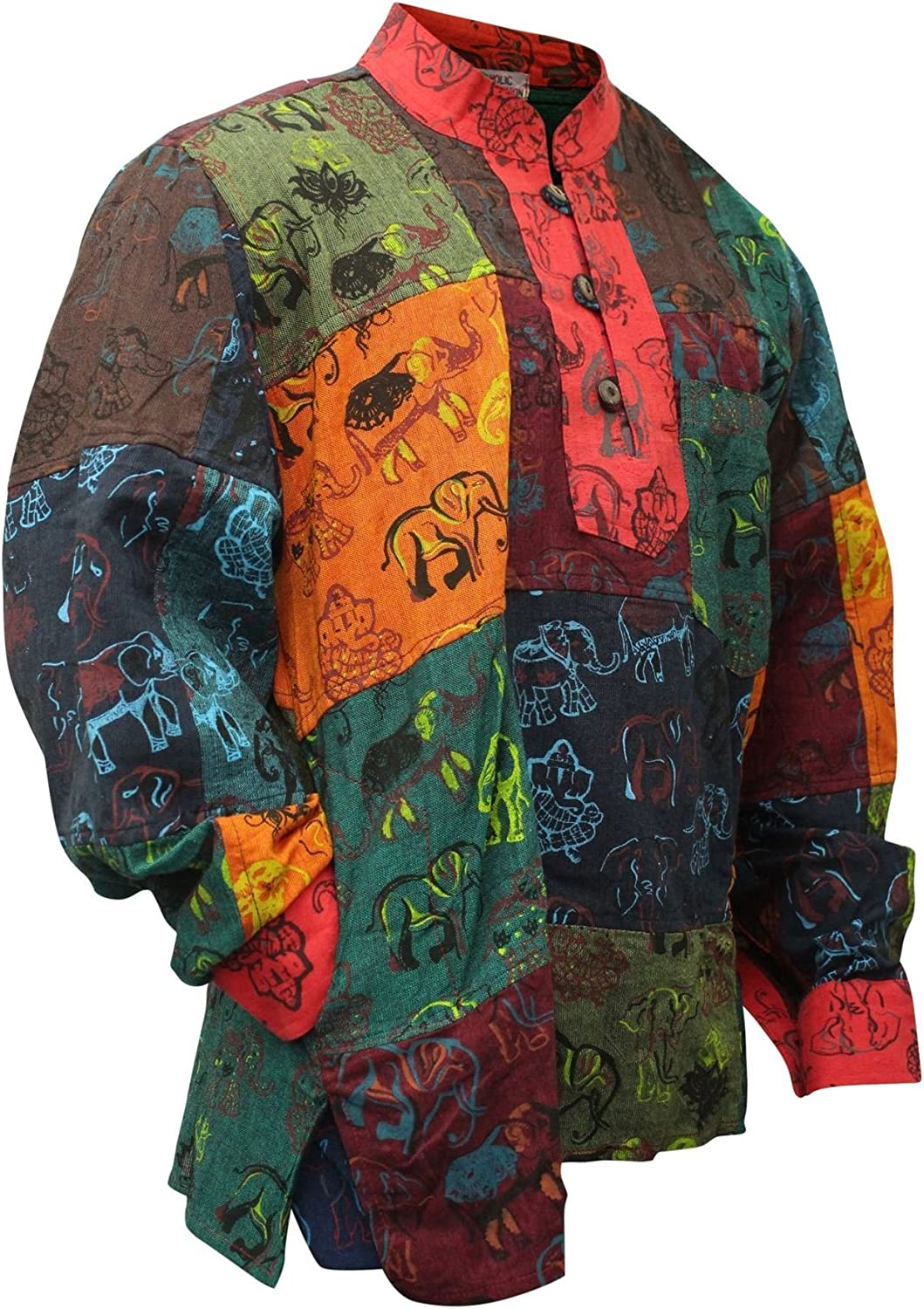 Shopoholic Fashion Mens Summer Colourful Grandad Hippie Shirt