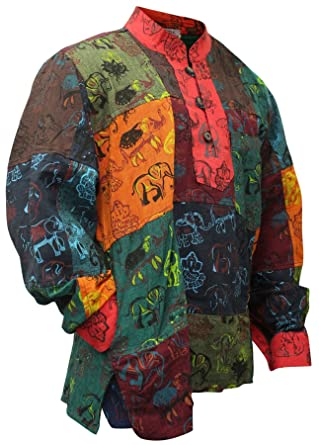 c039e0d171ebd1 Shopoholic Fashion Mens Summer Colourful Grandad Hippie Shirt at ...