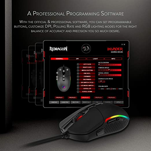 Redragon M719 Invader Wired Optical Gaming Mouse 7 Programmable Buttons Rgb Backlit 10 000 Dpi Ergonomic Pc Computer Gaming Mice With Fire Button Amazon Co Uk Computers Accessories