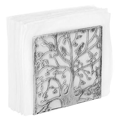 MyGift Tree & Bird Silhouette Silver-Tone Metal Napkin Holder
