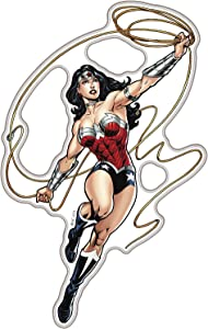 Fan Emblems Wonder Woman Character Car Decal Domed/Multicolor/Clear, DC Comics Automotive Emblem Sticker Applies Easily to Cars, Trucks, Motorcycles, Laptops, Windows, Almost Anything