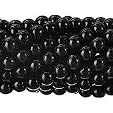 RUBYCA 200Pcs Czech Tiny Satin Luster Glass Pearl Round Beads Beading Jewelry Making 8mm Jet Black