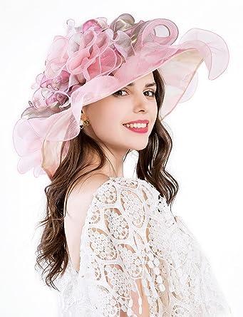 Antetok Women s Kentucky Derby Church Sun Hat Tea Party Wedding Floral Organza  Summer Gauze Hats Wide Brim Pink  Amazon.co.uk  Clothing 043f08eaf043