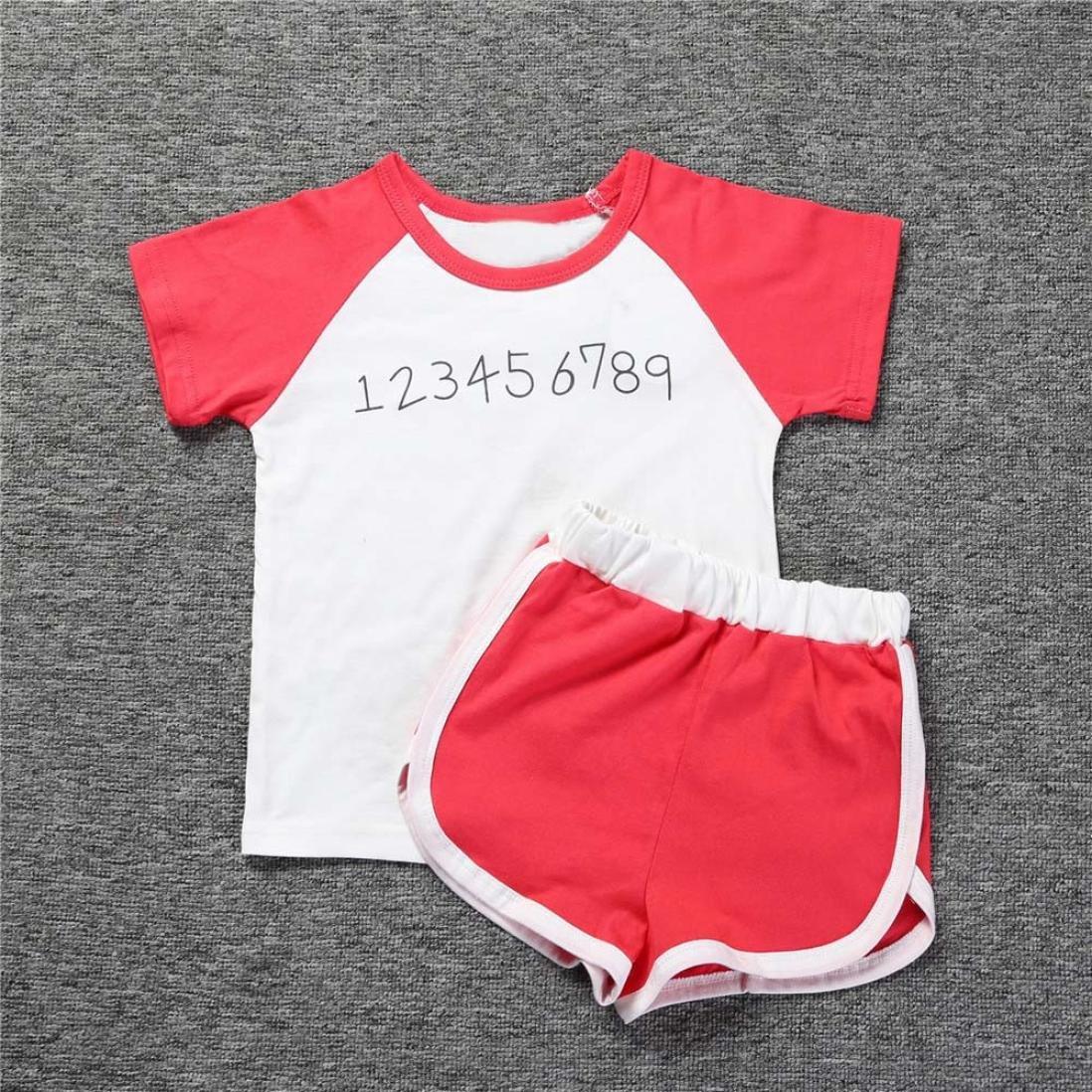 Baby Girl Boy Clothes,Efaster Toddler Kid Boys Girls Print T-shirt PP Shorts Set