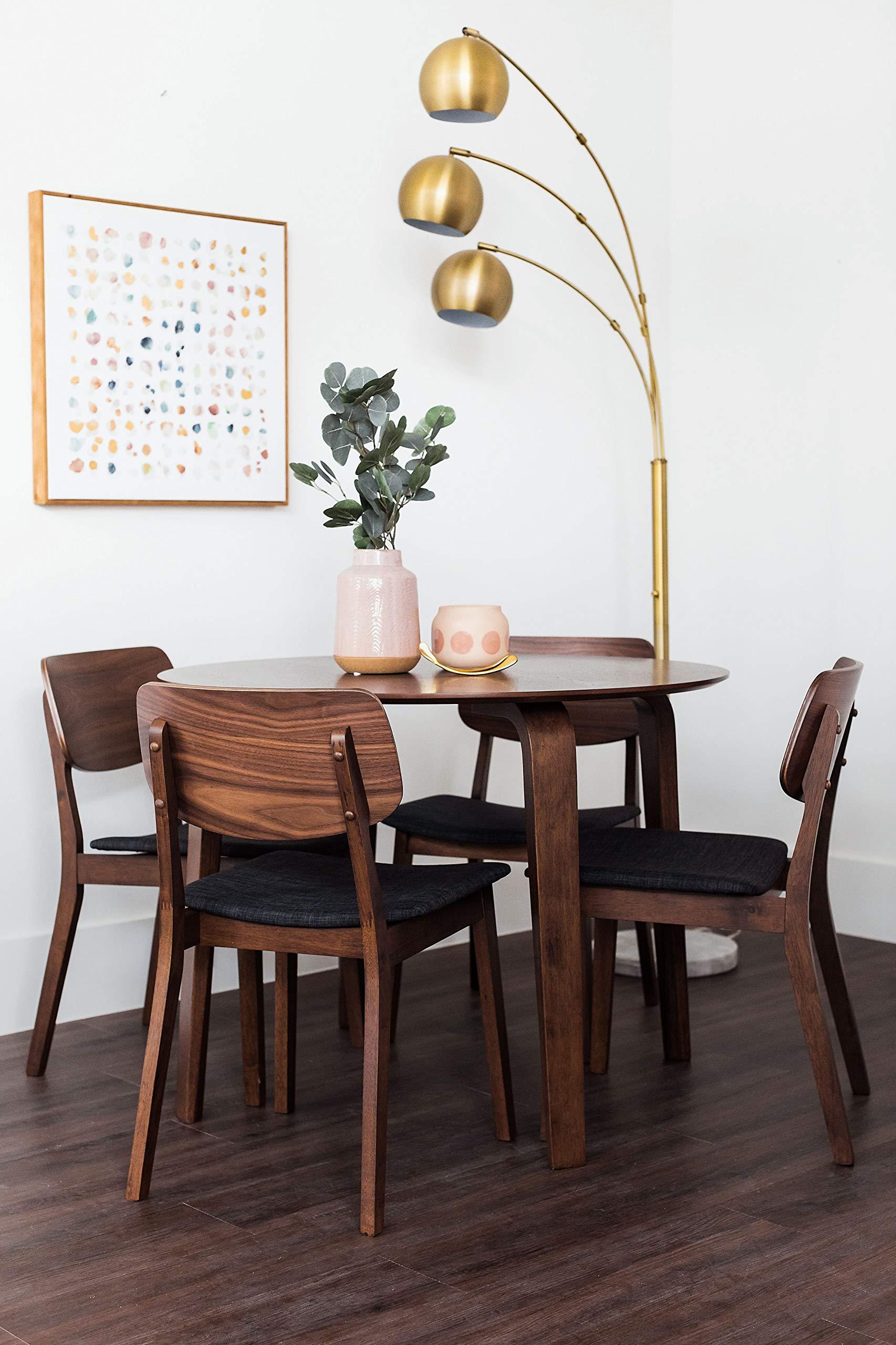 Edloe Finch YUMI Mid-Century Modern Round Dining Table Kitchen Walnut by Edloe Finch (Image #3)