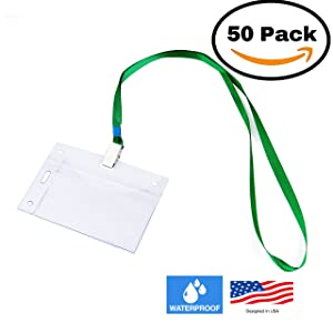 50 VERTICAL & HORIZONTAL Name Tag Holders with Lanyards I Sealable Waterproof Name Badge Holders with Green Clip Lanyards (50 SETS)