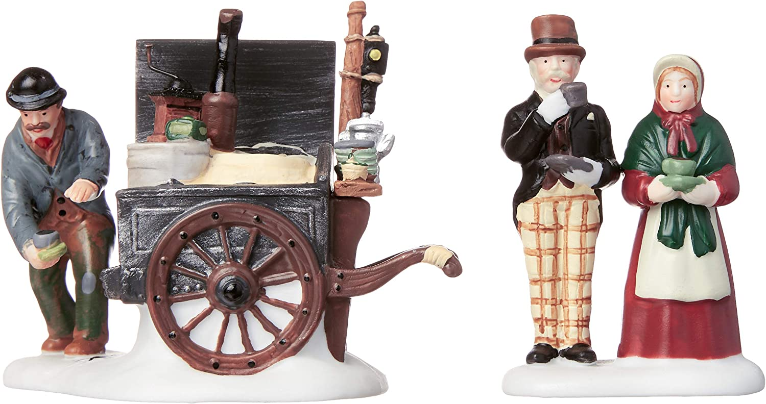 Set of 2 Department 56 Dickens Village The Coffee Stall Building and Accessory Figurine 56.58571