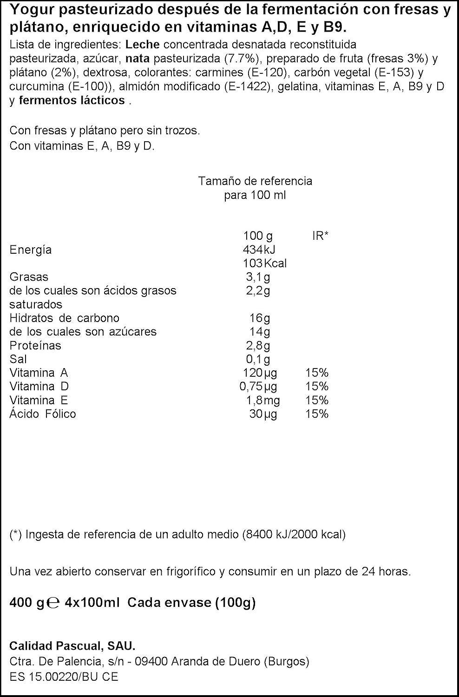 Pascual Yogur Sabor - Paquete de 4 x 100 gr - Total: 400 gr: Amazon.es: Amazon Pantry