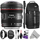 Canon EF 8-15mm f/4L Fisheye USM Ultra-Wide Zoom Lens w/ Advanced Photo and Travel Bundle - Includes: Altura Photo Sling Backpack, Monopod, Camera Cleaning Set