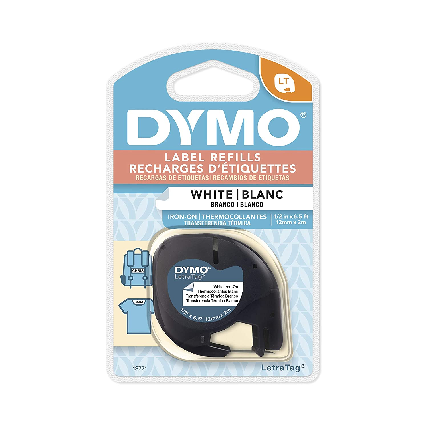 DYMO 18771 LT Tape Cartridge for Dymo LetraTag Label Makers, Adhere To Fabrics Using an Iron, 1/2-Inch x 6.5 Feet, Black on White, Pack of 1