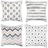 Penguin Home 100% Cushion Cover Set of 4 Grey Colour-45x45cm, Cotton, 45x45cm