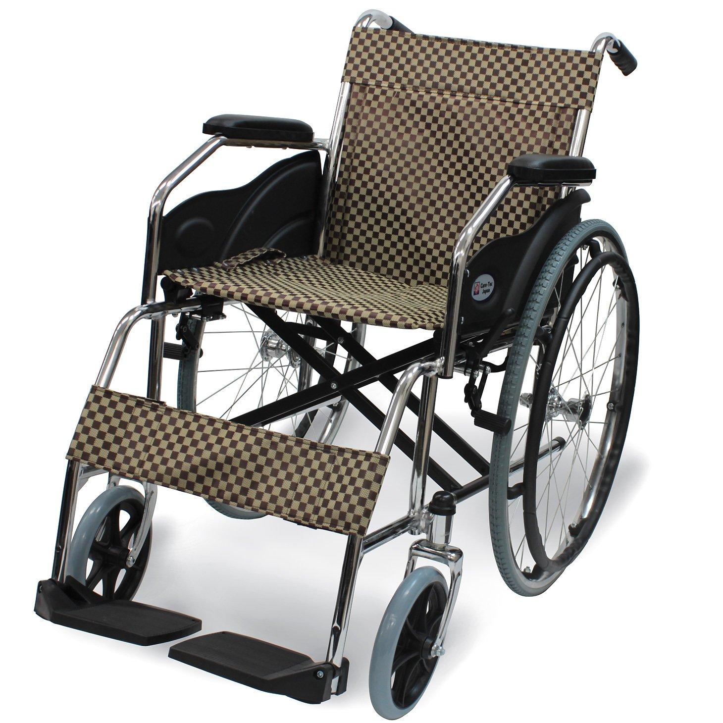 ケアテックジャパン 自走式 スチール製 折りたたみ 車椅子 ウィッシュ CS-10 ハーリキンチェック B01EJ5LY7E ハーリキンチェック ハーリキンチェック