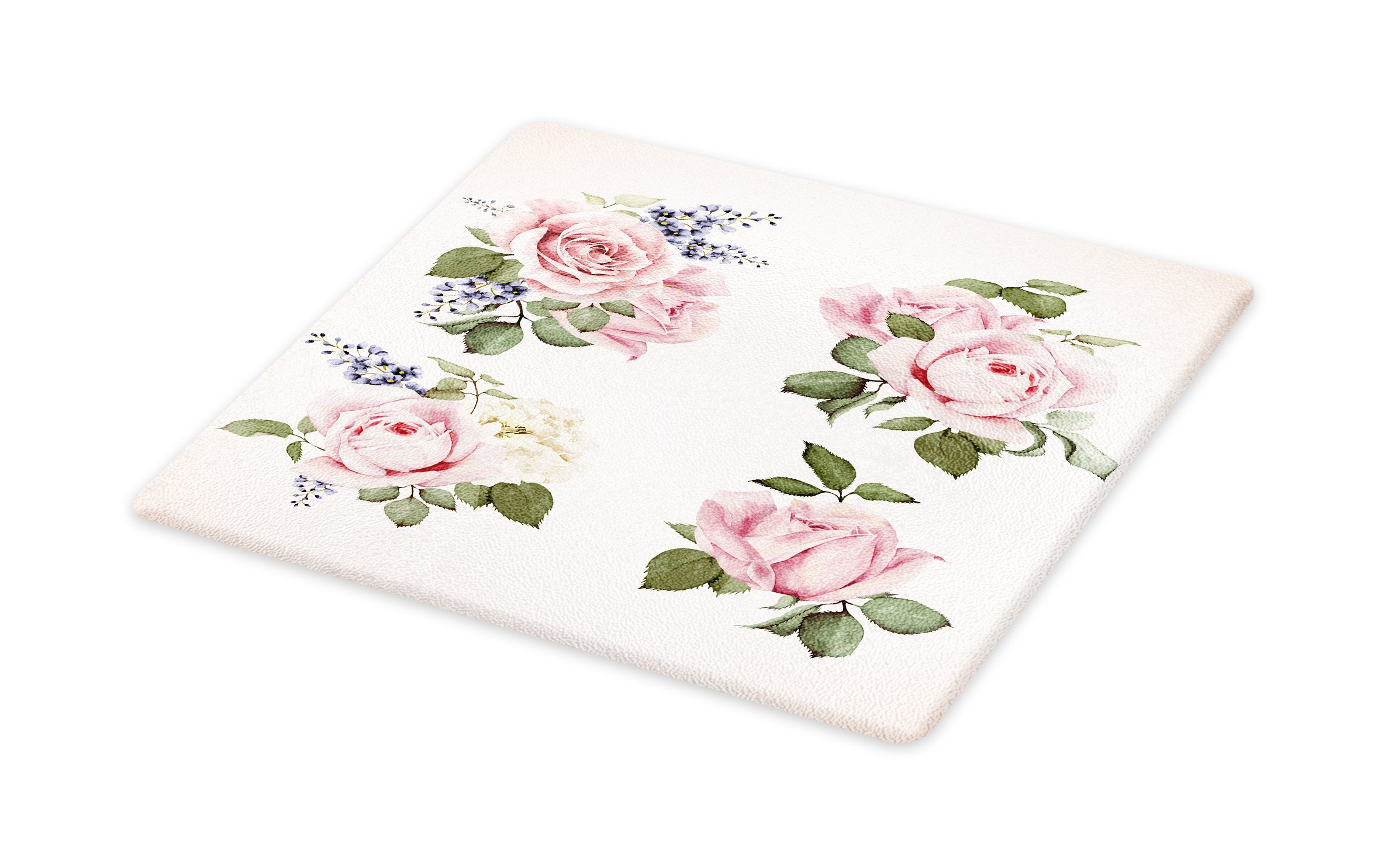 Lunarable Vintage Cutting Board, Vintage Country Style Floral Roses Wreath Bouquet and Corsage Wildflowers Design, Decorative Tempered Glass Cutting and Serving Board, Small Size, Pastel Pink