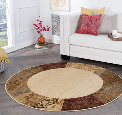 Sedona Transitional Floral Beige Round Area Rug, 5\' Round