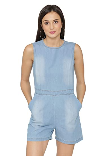 fcb70f309419 eyelet Sleeveless Denim Short Women s Jumpsuit  Amazon.in  Clothing    Accessories