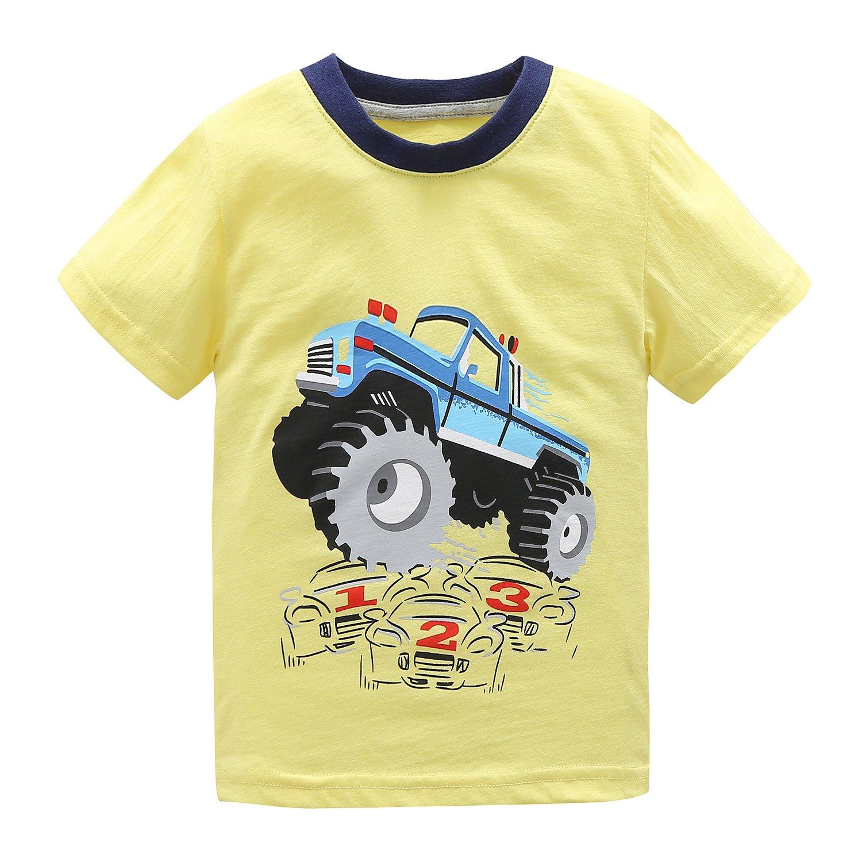 HowJoJo Boys Short Sleeve Cotton T-Shirt Monster Truck Summer Graphic Tees Yellow 5T