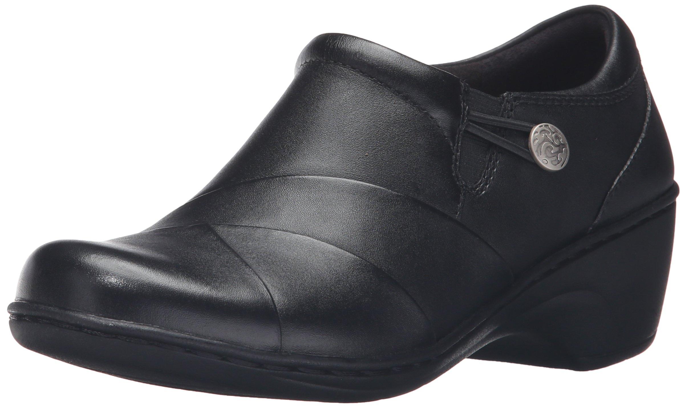 CLARKS Women's Channing Ann Slip-On Loafer, Black Leather, 9 M US