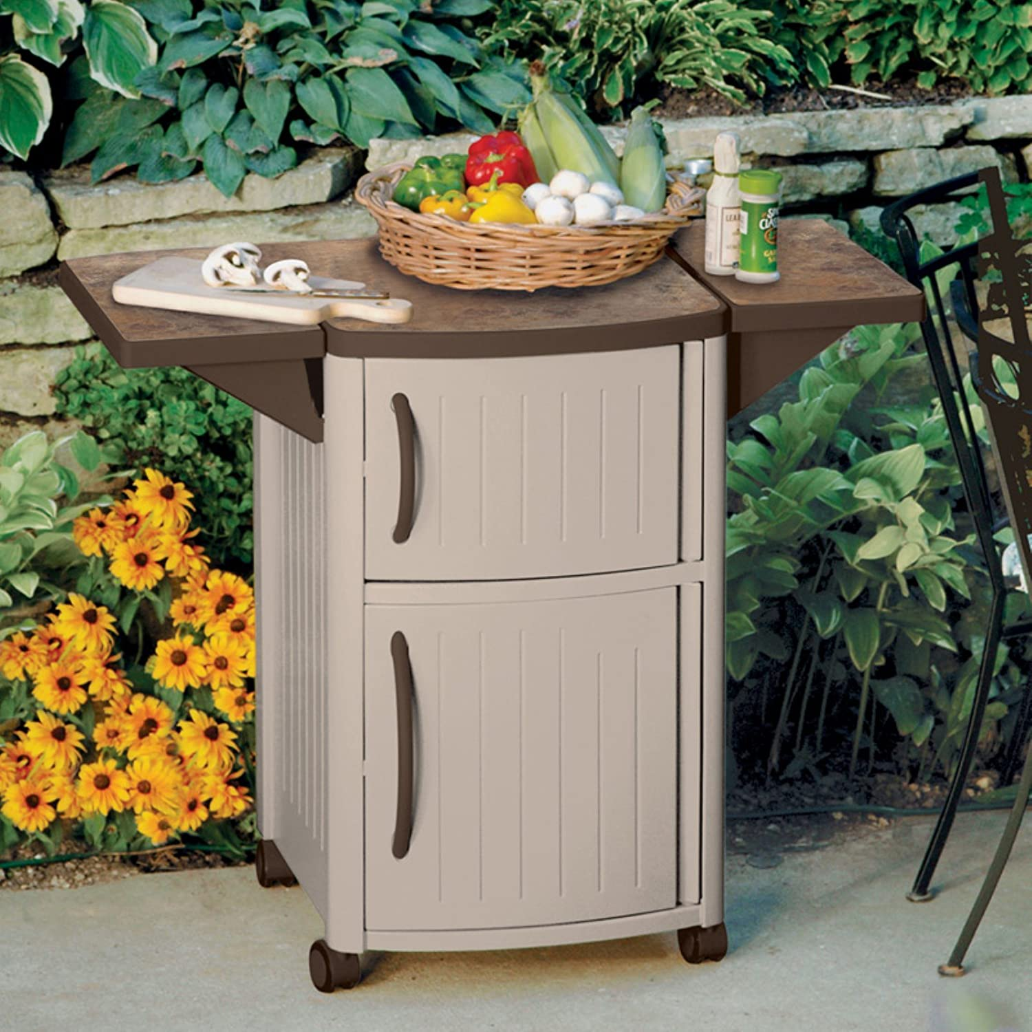 Amazon Com Outdoor Prep Table Station Bbq Patio Storage Cabinet