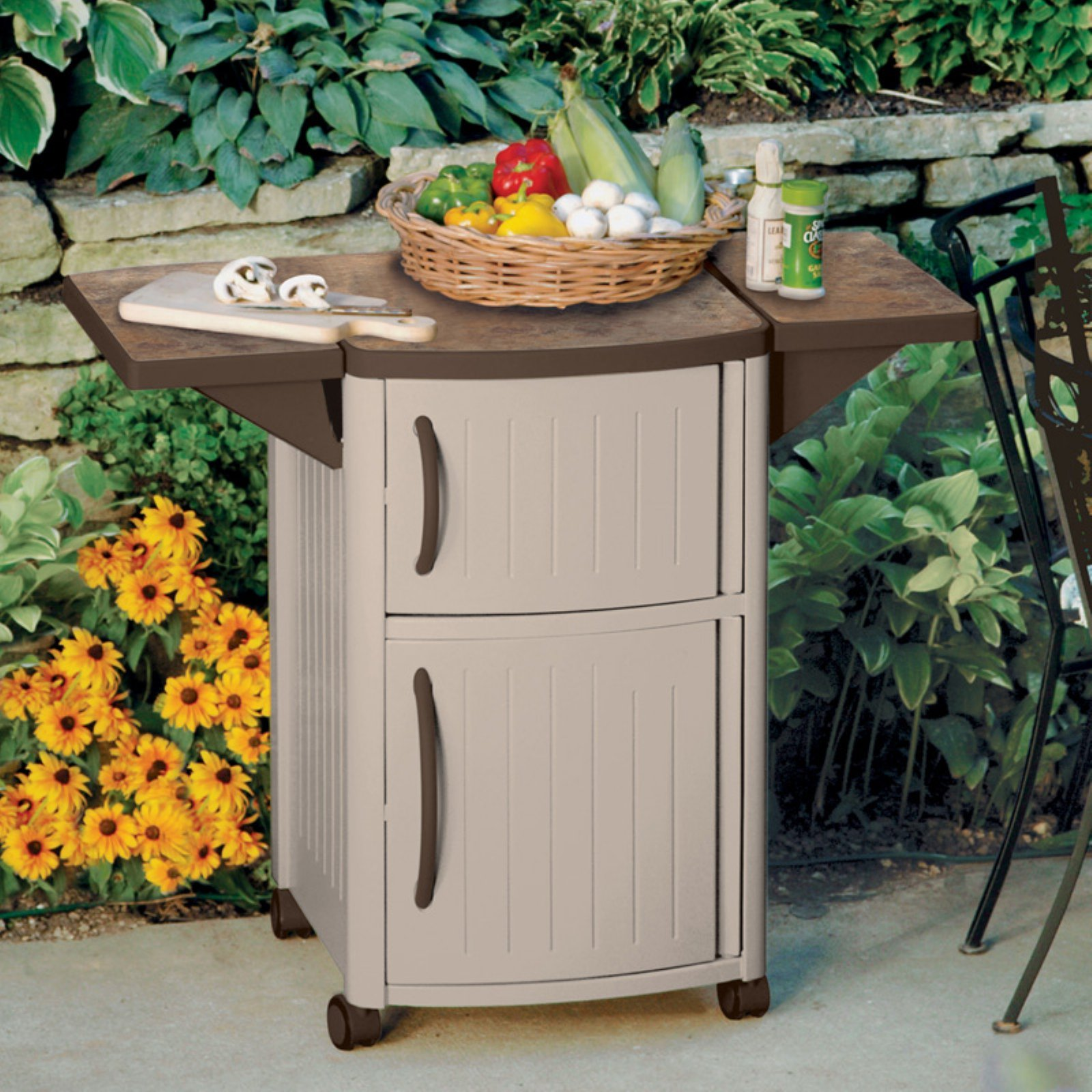 Outdoor Prep Table Station BBQ Patio Storage Cabinet Cooking Food Serving Island Cart Portable Deck Backyard