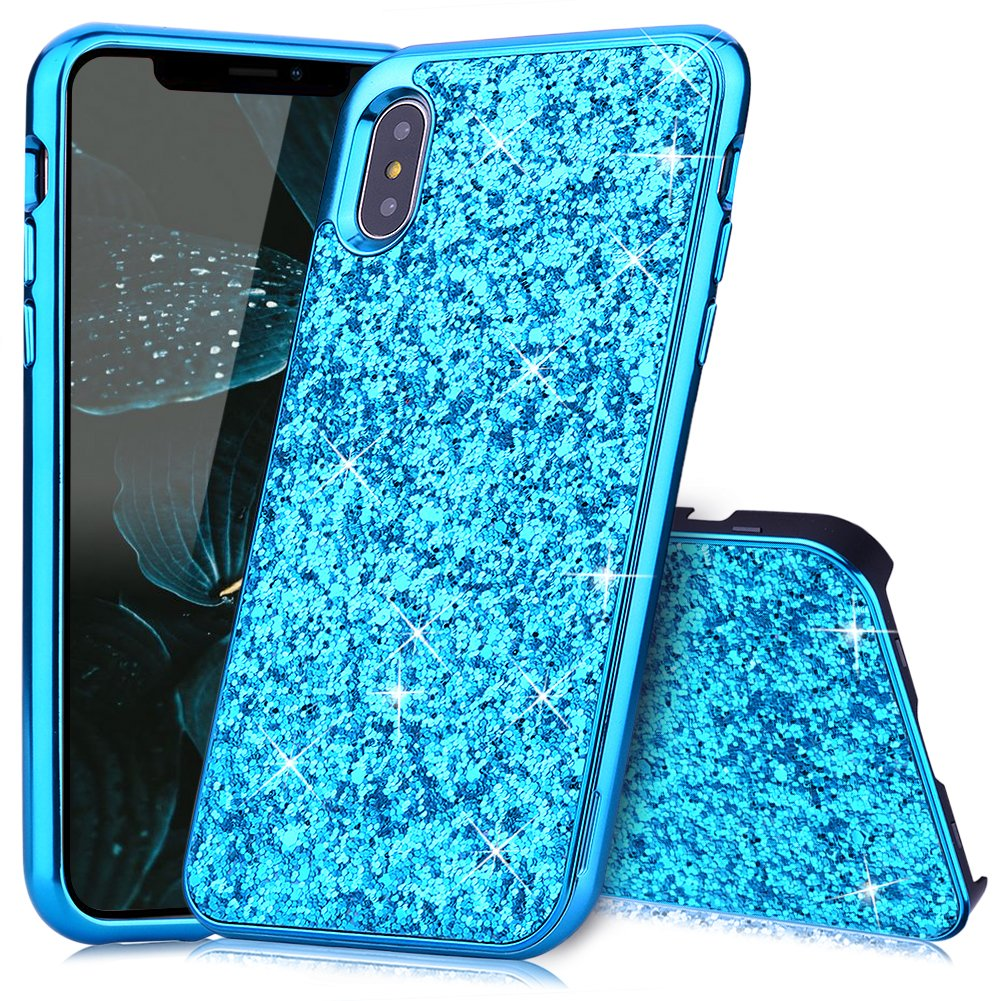 iPhone X Hü lle Glitzer Huphant [2 in 1] iPhone X Hü lle Luxus Sparkle Bling Glitter Phone Case Stoß fest Ultra Slim Anti-Scratch Hard PC Case Stoß fä nger Rü ckseitige iPhone X/iPhone XS -Gold