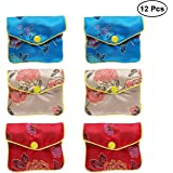 40830f07d NUOLUX 12pcs Chinese Traditional Brocade Pouch Silk Embroidery Pouch  Jewelry Bag